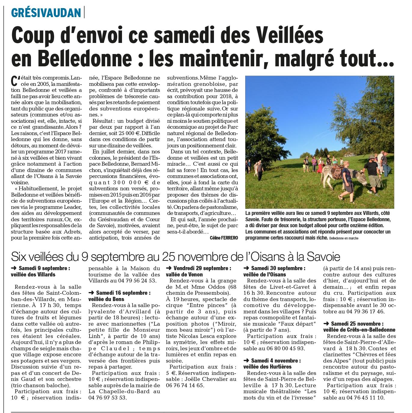 Coup d'envoi des veillées en Belledonne : les maintenir malgré tout...