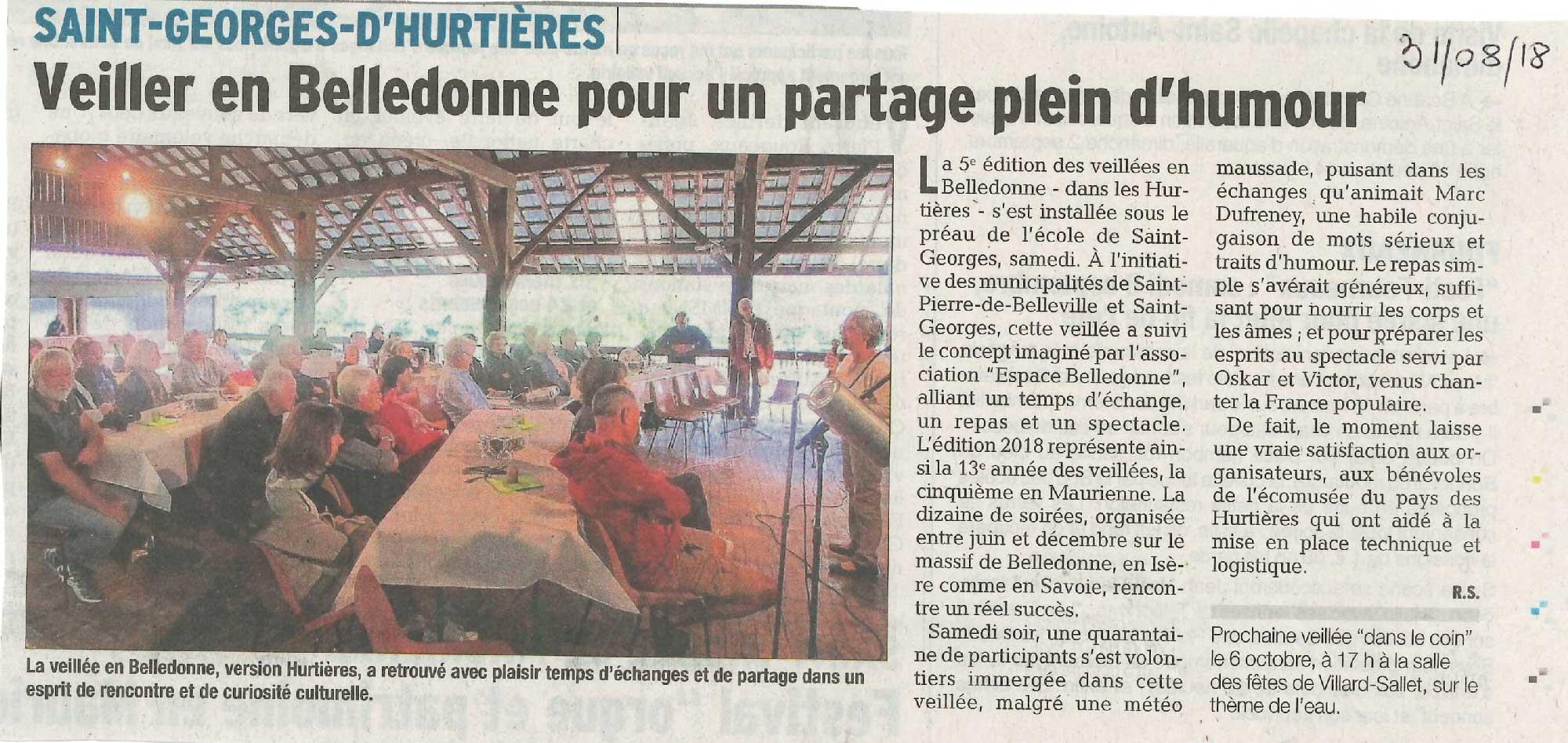 Extrait du Dauphiné Libéré, article sur la veillée à Saint Georges d'Hurtières dans le cadre de Belledonne et veillées.